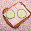 Sandwich from pumpernickel bread - Stock Photo
