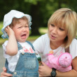 Stock Photo: Mother and crying little daughter