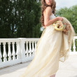Princess in white-golden gown — Photo