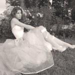 Beautiful girl in retro style, sepia — Stock Photo #1415969