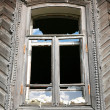 Old-time window with splinter flow - Stock Photo