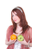 Irony portrait with fruits — Stock Photo