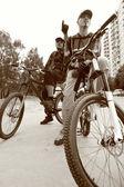 Två cyklister — Stockfoto