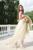 Princess in white-golden gown — Stock Photo