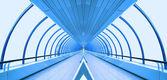 Unusual glass corridor — Stock Photo