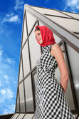 Girl in red kerchief — Stock Photo