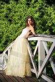Beautiful bride on the wooden bridge — Fotografia Stock