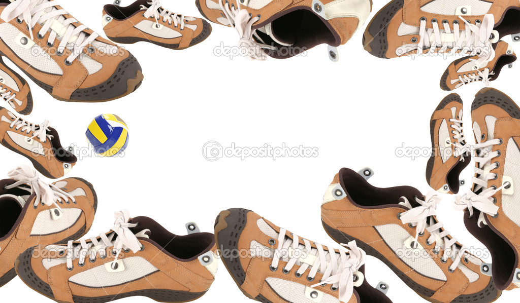 Frame, Soccer Subject, Atheletic Footwear and Ball, Sneakers — Stock Photo #1410528