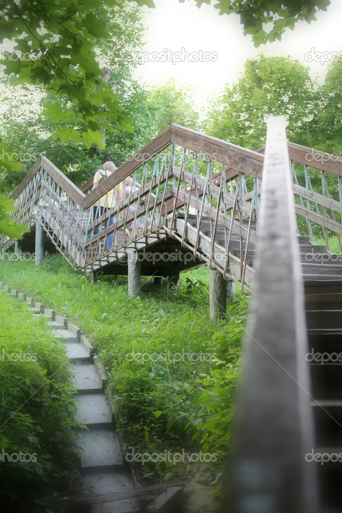 Romantic Landscape with Stairway in Park, Summer — Stock Photo #1414164