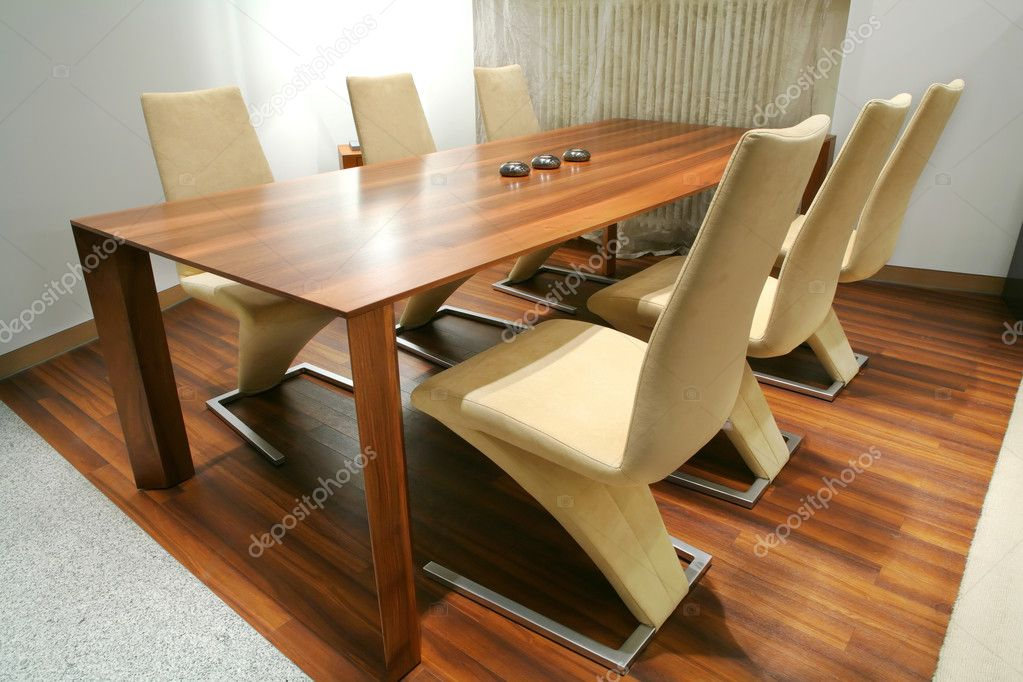Trendys dining room with unusual chairs — Stock Photo #1415707