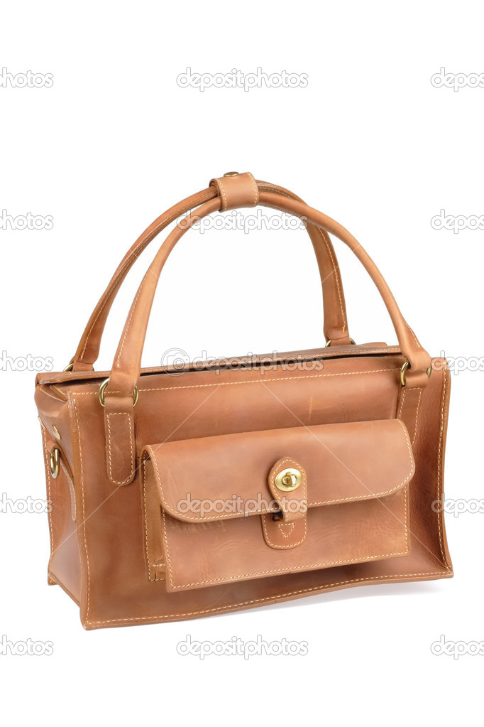 Luxurious brown leather bag on white background — Stock Photo #1416089