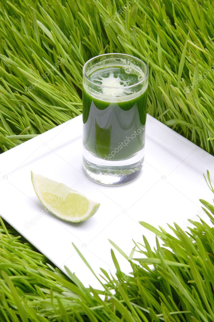 Fresh green juice from sprout of the wheat with lime — Stock Photo #1482973