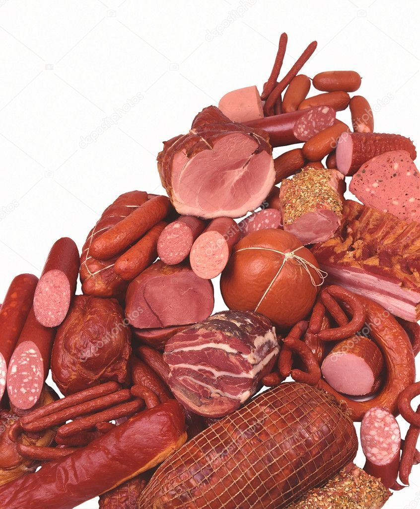 Meat Delicacies, Ham, Sausage, Salami, Hot dogs, Small sausages — Foto de Stock   #1483020