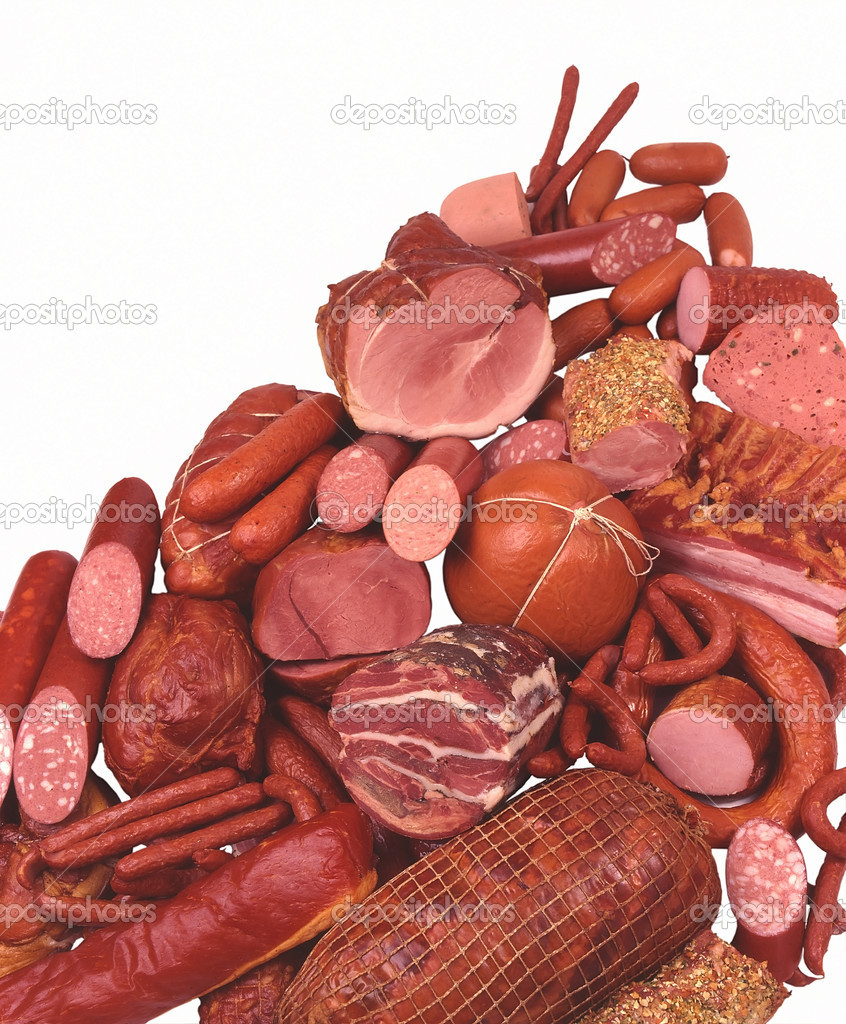 Meat Delicacies, Ham, Sausage, Salami, Hot dogs, Small sausages  Photo #1483020