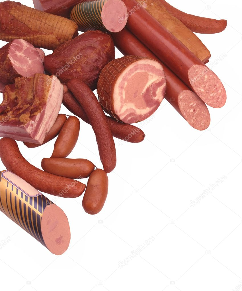 Meat Delicacies, Ham, Sausage, Salami, Hot dogs, Small sausages — Stock Photo #1483022