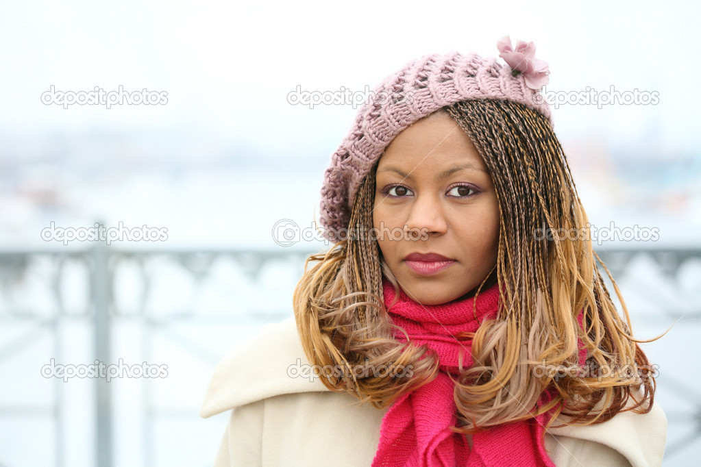 Black beautiful girl on white winter day  Stock Photo #1551280