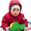 Little kid in the red winter jacket — ストック写真