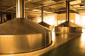 Modern brewery - workshop with steel fermentation vats — Stock Photo