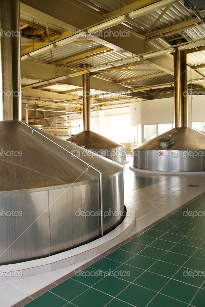 Modern brewery - workshop with steel fermentation tanks — Stock Photo #1188984