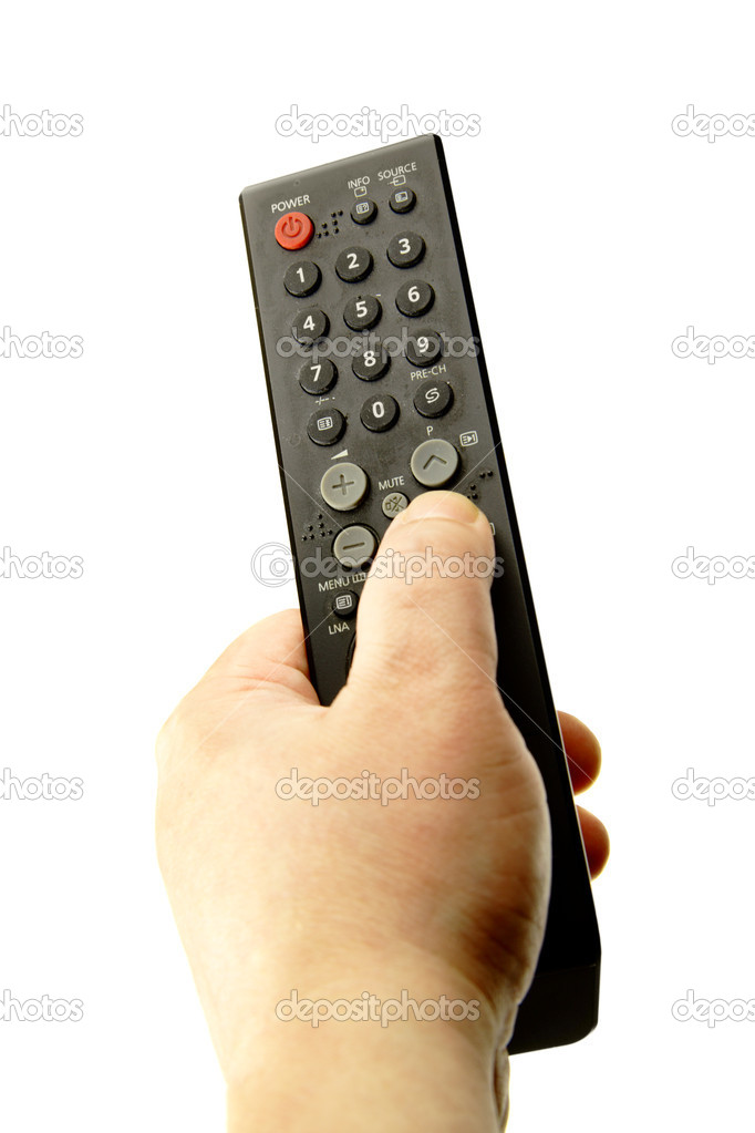 Hand with remote control isolated over the white background — Stock Photo #1189270