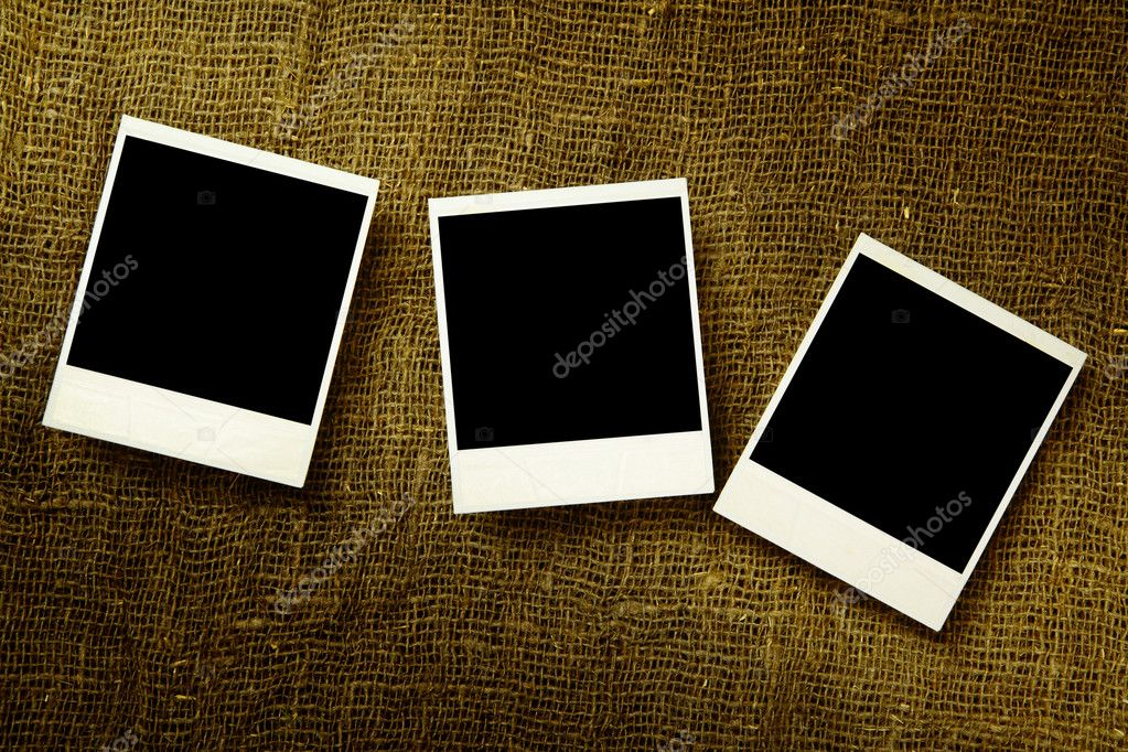 Three old photos over the textile surface — Stock Photo #1189890