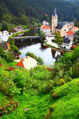 View out of Rosenberg castle to small old town, Czech republic — Foto Stock