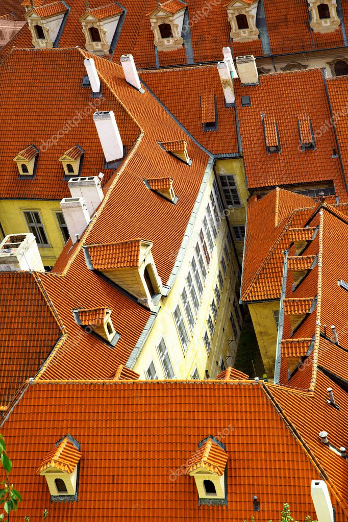 Old tiled roofs at Prague, Czech republic  Stock Photo #1190869