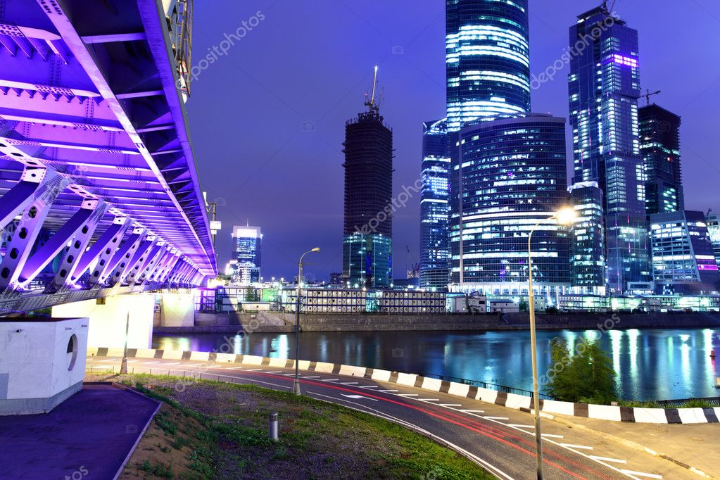 Modern skyscrapers at night. Moscow City. Russia. — Stock Photo #1192901