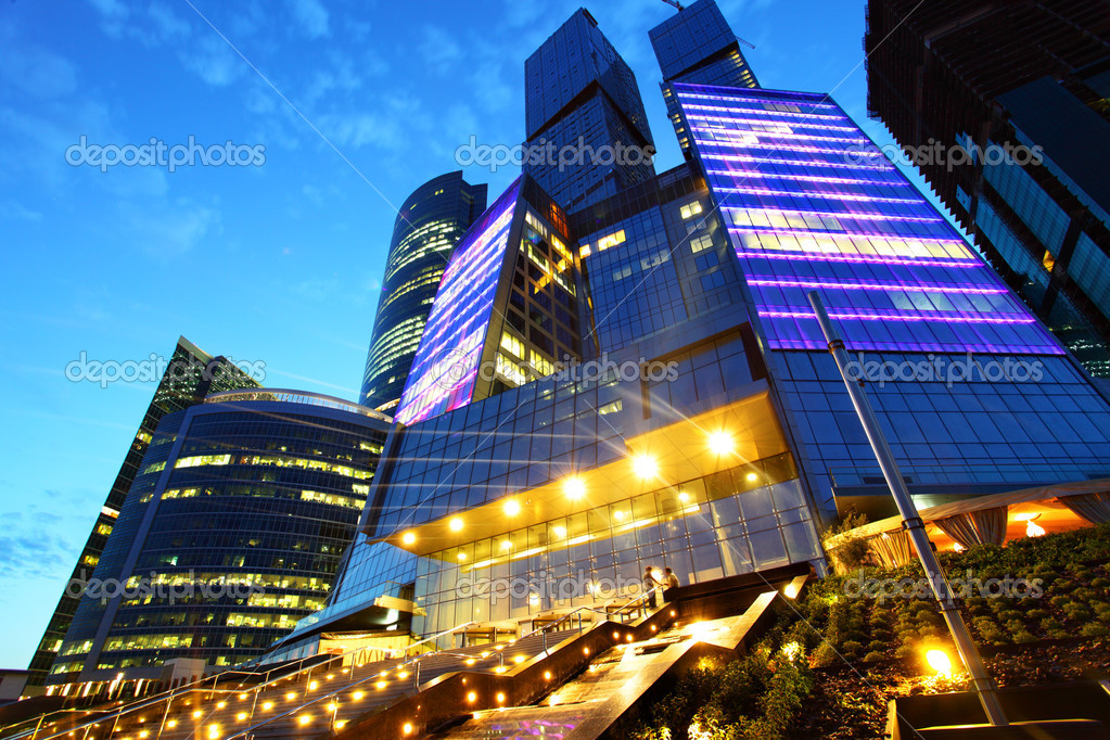 Modern skyscrapers at night. Moscow City. Russia.  Photo #1193718
