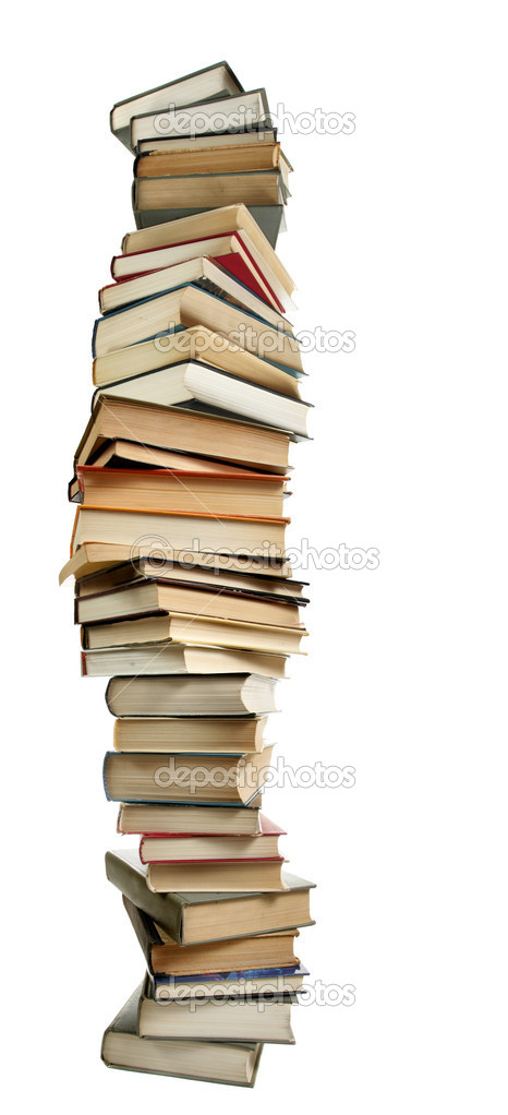 Tall stack of books isolated over white background — Stock Photo #1193804