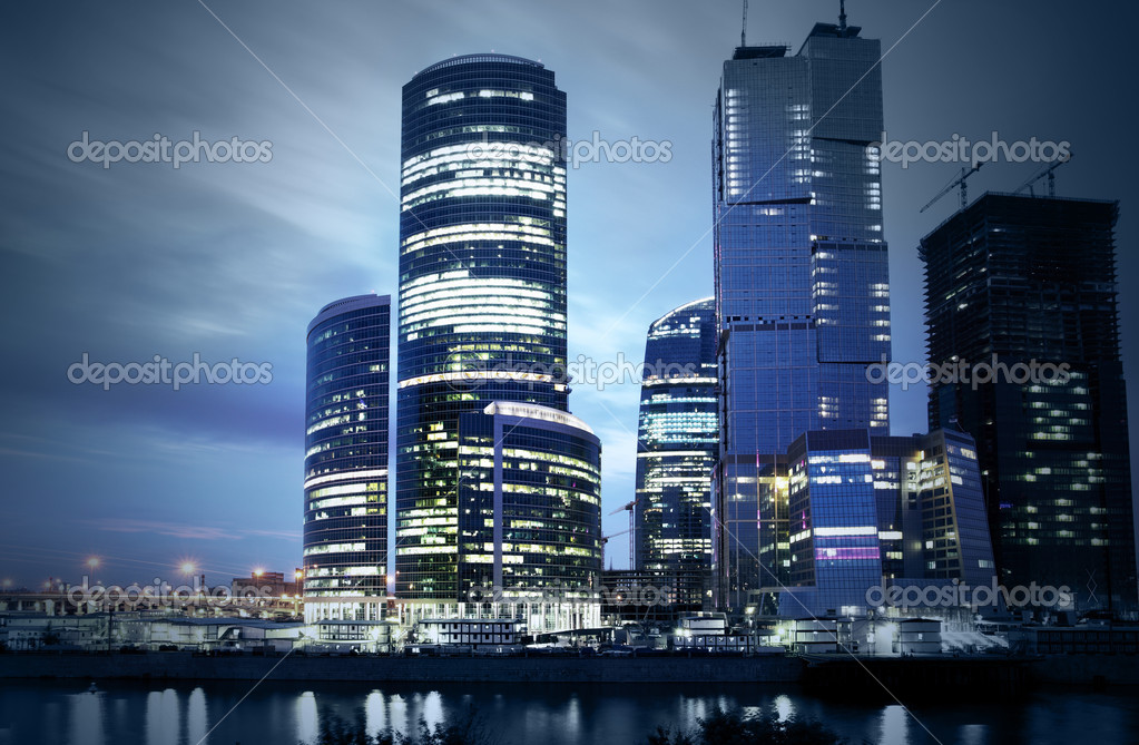 Modern skyscrapers at night. Moscow City. Russia. — Stock Photo #1193821