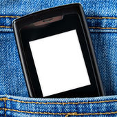 Cellular in jeans pocket — Stock Photo