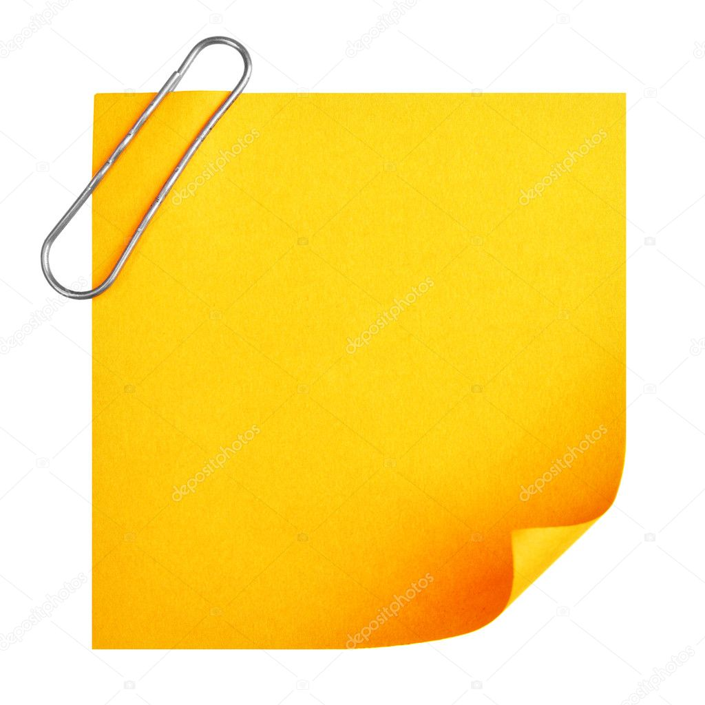Blank paper with clip isolated over white background — Stock Photo #1415487