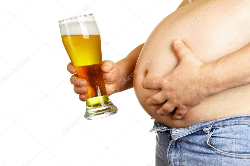 Man with beer glass isolated over white baclground  Stock Photo #1417320