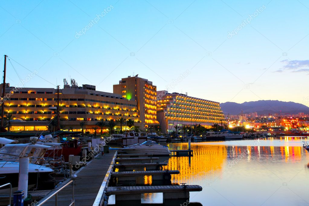 Hotels and yachts at sunset. Eilat. Israel. — Stock Photo #1417775