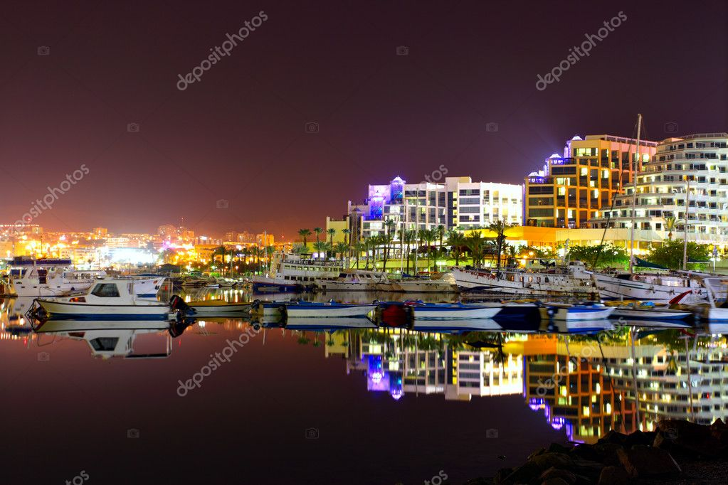 Hotels and yachts at night. Eilat. Israel. — Stock Photo #1417782