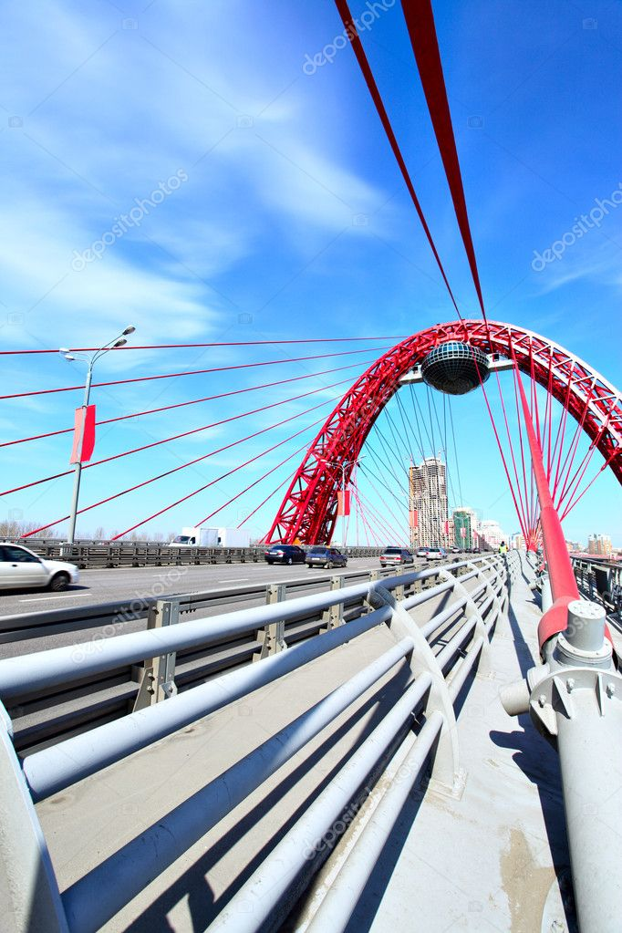 Modern suspension bridge. Moscow. Russia (Zhivopisny bridge) — Stock Photo #1418485