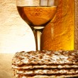 Stock Photo: wine and matzoh