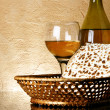 Wine and matzoh - Stock Photo