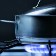Crock on the gas stove — Stock Photo
