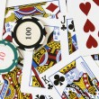 Cards and gambling chips — Stock Photo