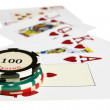 Casino chips and playing cards — Stock Photo