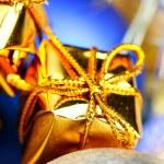 Gift box and christmas balls — Stock Photo