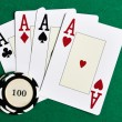 Stock Photo: Playing cards and casino chips