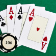 Playing cards and casino chips — Stock Photo