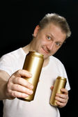 Man with beer can — Stock Photo