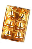 Pack of gold Christmas bells — Stock Photo