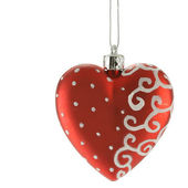 Red heart - christmas ball — Stock Photo