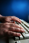 Hands and keyboard — Stock Photo