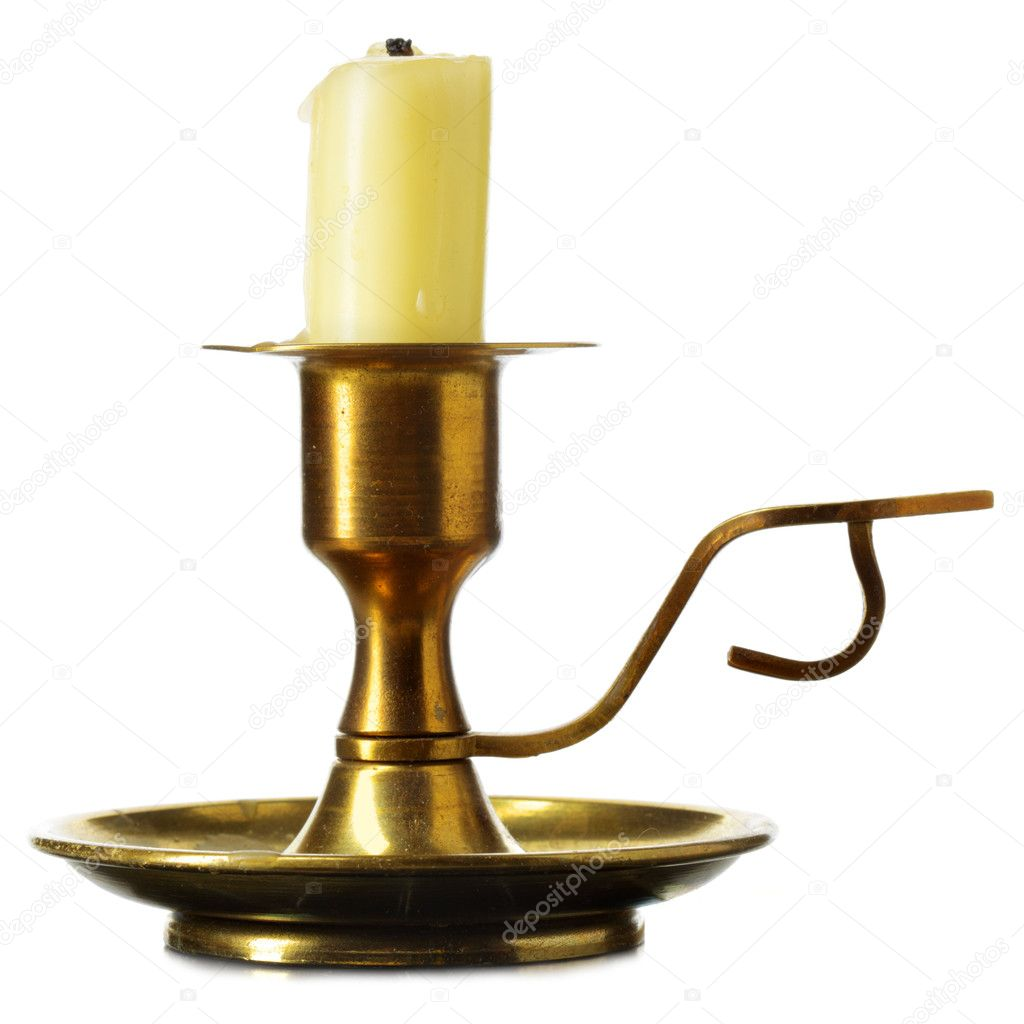 Bronze candlestick with candle isolated over white background — Stock Photo #1420156
